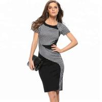 Quality 20702 Simple And Stylish Plaid Slim Office Lady Wholesale Dress wholesale