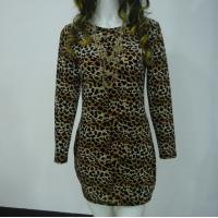 Quality Stretchy Leopard Print Club Dress , Long Sleeve Velvet Bodycon Dress V Back wholesale