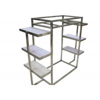 Quality Silver Brushed Stainless Steel Clothing Display Racks With White Wooden Shelves wholesale