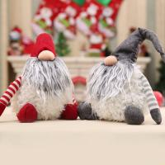 Quality 25cm Length Christmas Stuffed Toys Layered Gray Beard High Hat Cover Eyes wholesale
