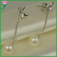 Quality Fashion Women top quality butterfly real natural pearl pendant earrings wholesale