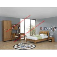 Quality Bachelor room interior furniture fixture equitment by small size rubber solid wood bed and reading bookcase set wholesale