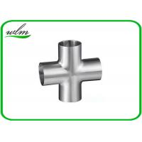 Quality Butt Weld Straight Cross Fittings Stainless Steel Hygienic Fittings 15 Bar Pressure wholesale