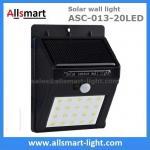 Quality Exterior 20LED Wall Mount  Black Lampshade Solar Motion Sensor Wall Light Outdoor Wall Lamp Solar Lighting wholesale