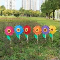 Quality Outdoor sunflower ornaments decoration wooden garden stake wholesale