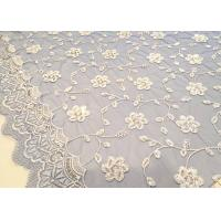 Quality Embroidered White And Blue Sequin Floral Lace Fabric With Scalloped Edging wholesale