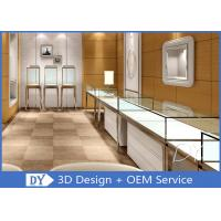 Quality Brush Gold Stainless Steel Jewelry Counter Design With Wood Cabinet wholesale