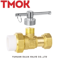 China brass used in front water meter lockable active joint plastic joint ball valve on sale