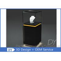Quality Pre - Assembly Black Exhibit Pedestal Display Showcase With Lighting wholesale