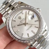 Buy cheap Wholesale 2016 Rolex Day-Date 228239 40mm Automatic 3255 Silver Dial Diamonds Marks Diamonds Bezel Watch from wholesalers