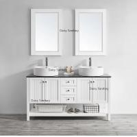 China 60 Inch White Marble Top Bathroom Vanity Brass Or Stainless Steel Handles on sale