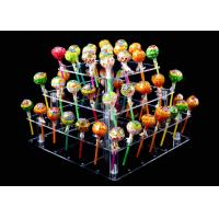 China Toxic Free 4 Tier Clear Acrylic Cake Stand 56 Holes Lollipop Cake Holder on sale