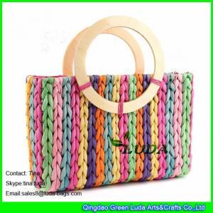 China LUDA stylish straw handbags women cornhusk colorful straw handbag on sale