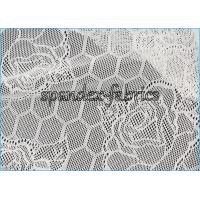 Quality Lotus Flower And Hexagon Pattern Sheer Lace Fabric Stretch Jacquard wholesale