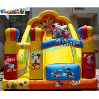 Quality Custom Kids Amusement Mickey Commercial Inflatable Slide with strong handles safety wholesale
