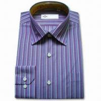 China Men's Dress Shirt in Dark Blue, with Embroidered Logo on Left Chest and Long Sleeves on sale