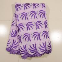 China Purple Swiss Cotton Voile Lace , 130 - 135cm Width  Customized For Wedding Dress on sale