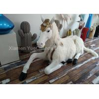 Quality Sitting Style Window Display Decorations Fiberglass Unicorn Statue With Fake Hair wholesale