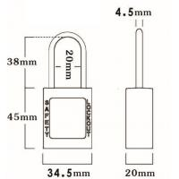 Quality 38mm Non-Conductive 4.5mm Shackle Safety Padlock 45mm*34.5mm*20mm wholesale