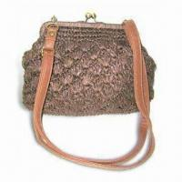 Quality Ladies Crocheted Handbag, Made of Straw and Straw/PU with TC Lining wholesale