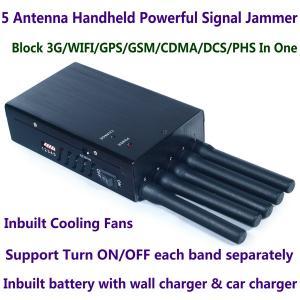 Quality 5 Antenna Handheld Cell Phone 3G WIFI GPS GSM CDMA DCS PHS Signal Jammer 20M Shield Radius wholesale