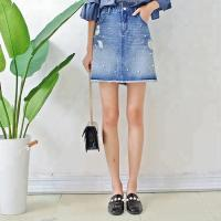 Quality Women A Line Denim Mini Skirt With Pearls , Summer Short Jean Skirt for Ladies wholesale