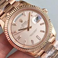 Quality Wholesale 2016 Rolex Day-Date 228239 Full Rose Gold 40mm Automatic 3255 Gold Dial Diamonds Marks Fluted Bezel Watch wholesale