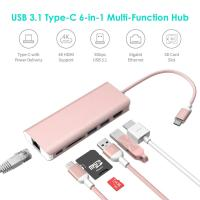 Quality USB Type C Hub Ethernet and HDMI adapter with SD Card Reader Power Charging 2 Type A Port for Apple Macbook pro&Windows wholesale