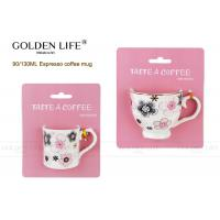 Cheap Porcelain Cappuccino Espresso Cups with pink flowers design,90ml and 130ml for sale