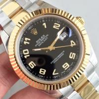 Quality Wholesale 2016 Rolex 116334 DateJust II Two Tone YG 41mm Automatic 3136 Black Dial Number Marks Fluted Bezel Watch wholesale