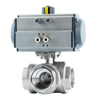 China 2 Inch Three Way Ball Valve Stainless Steel Pneumatic Actuator Female Thread on sale