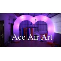 Quality wonderful changing colorful led heart shape inflatable arch decoration for wedding wholesale