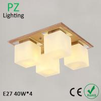 China 4 heads contemporary wood ceiling lamp square ceiling lighting with remote controller on sale
