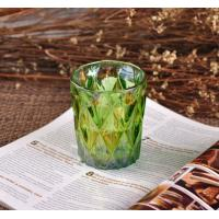 Quality OEM Ion Plating Decorative Glassware Candle Container , Decorative Glass Jars In Green Brown wholesale