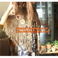 Quality Mexican print knitted open poncho with roll neck, Green Free Knitting Crochet Woman wholesale