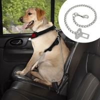 Quality Dog Car Seat Belt Clip Leash Quick Fit Stainless Steel Chain Dog Leash 21 Long wholesale