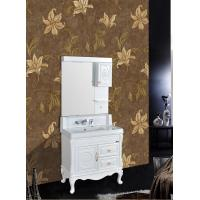 Quality Antique Bathroom Decoration PVC Vanity Cabinets With Legs / Zinc Alloy Handle wholesale