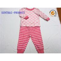 Quality Knitted Children's Clothing Sets / Baby Girl Clothing Sets Long Sleeve Tee And Stripe Pant wholesale