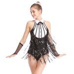 Quality Black-White Stunning Tap Costume Sequined-Fringes Mock Neck Dance Dress Performance Wear wholesale