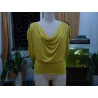 Quality Cosy Mustard Womens Fashion Tops Plus Size Drape Neck Tops With Sleeves wholesale
