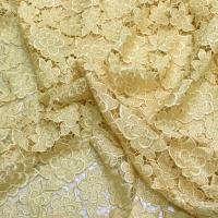 China Bright golden flower wedding evening dress polyester chemical lace on sale