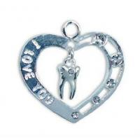 Quality DENTAL JEWELRY NEW HART SHAPE PENDENT WITH MOLAR TOOTH FOR DENTIST AND TEAM,GOLD /SILVER wholesale