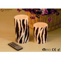 Quality Sets of  Two Flameless LED Zebra Striped Wax Candles With Remote Control wholesale