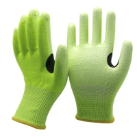 China HPPE Steel Wire Thumb Reinforced Cut Resistant Gloves With PU Palm Coated Safety Grip Work Gloves For Spearfishing on sale