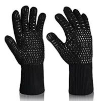 China Kitchen Cooking Black Aramid Heat Resistant Work Gloves Barbeque Oven Mitts on sale