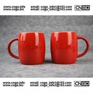 Quality Beer barrel red black ceramic beer mug custom advertising LOGO for your design wholesale
