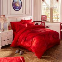 Quality Red Bridal Polyester Bed Sheet Cover Sets With Embroidery Flower Queen Size wholesale