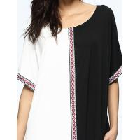 Cheap Black And White Bohemian Formal Dresses , Straight Cut Maxi Dress Embroidered Tapes for sale
