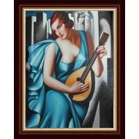 Quality hand painted blue dressing woman playing music oil painting on canvas wholesale
