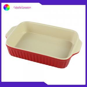 China Daily Usage Ceramic Baking Tray , Double Handles Rectangular Baking Plate Bake on sale